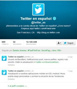 Perfil Twitter España
