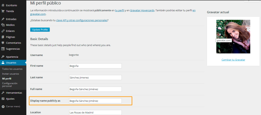 Mostrar información de autor Gravatar - WordPress