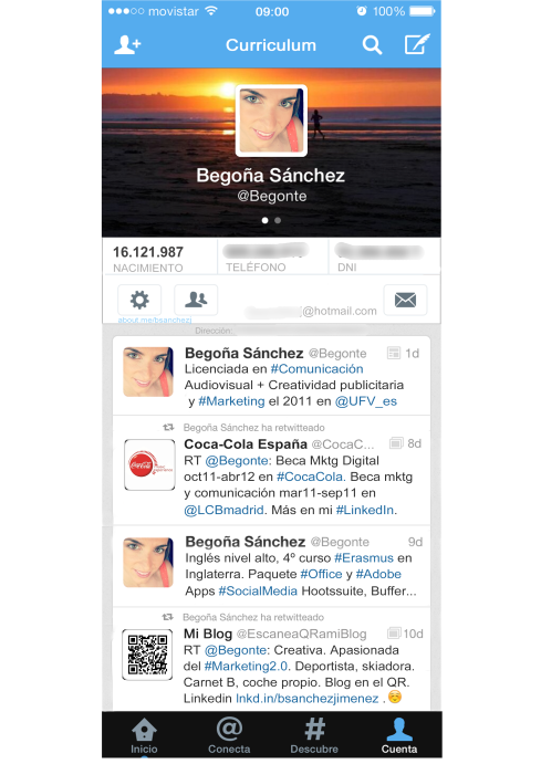 CV 20 creativo twitter Begoña Sánchez Jiménez